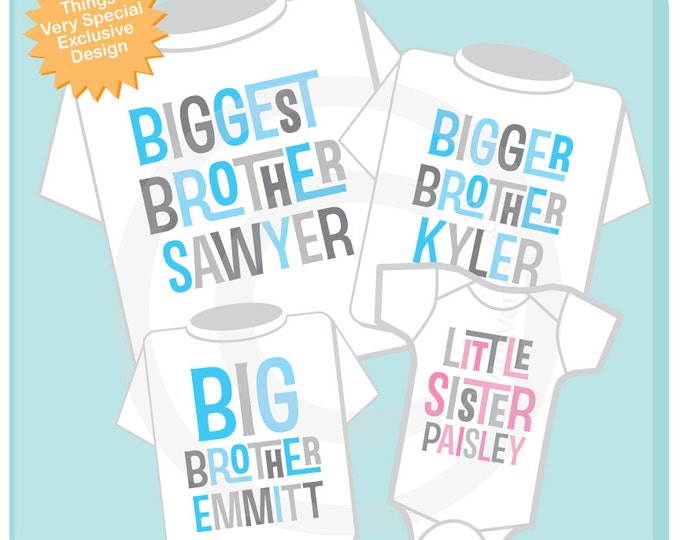 Set of Four, Three Big Brothers and One Little Sister Tee Shirts or Onesies (03042014d)