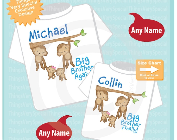 Set of Two Personalized Big Brother Again and Big Brother Finally shirts with twin babies. 05212019c