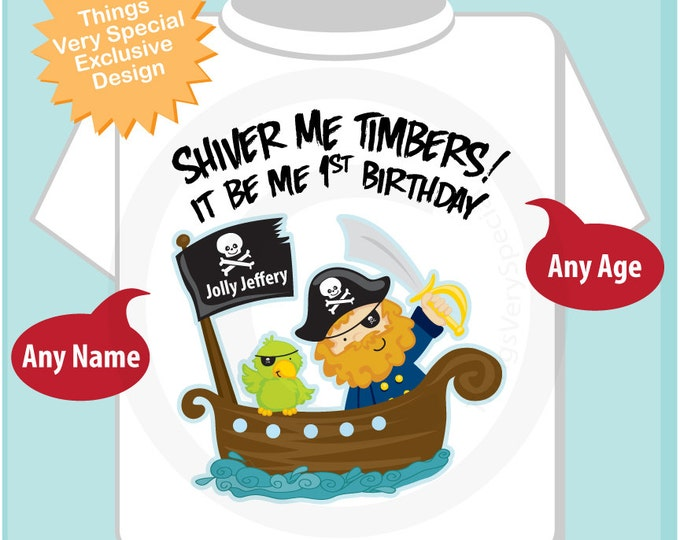 Pirate First Birthday Shirt or Onesie Outfit Personalized with Your Child's Name and Age (01082012a)