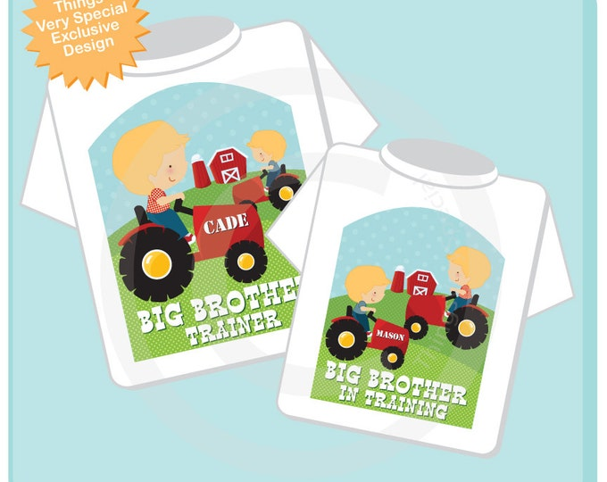 Set of Two Big Brother Trainer, and Big Brother In Training Red Tractor Shirts or Onesies - Price is for both 12242015b