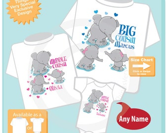 Set of Three, Big Cousin, Middle Cousin and Little Cousin Elephant Shirts and Onesie Personalized with your child's name (07152015s)