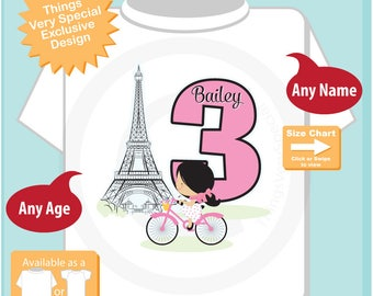 Paris Birthday Shirt for third Birthday, Pink 3 Birthday Shirt, Personalized Girls Birthday Shirt Pink Age Name Tee for kids 11292017c
