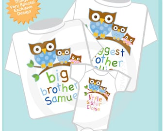 Set of 3 - Matching Sibling SET - Sibling Shirt Set - Owl Biggest Brother, Little Sister Matching Set of 3 - toddler sibling set (12272013c)