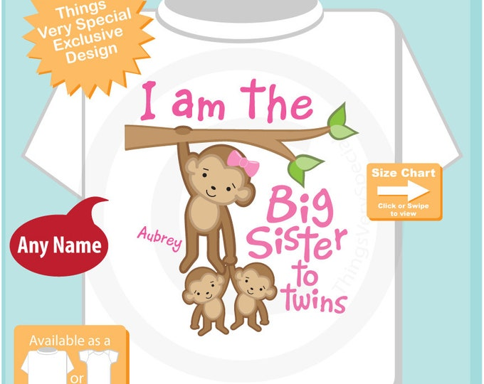 I am the Big Sister to Twins Shirt or Onesie, Monkey with twin babies 2 boys Personalized Big Sister with Monkeys 12112018b
