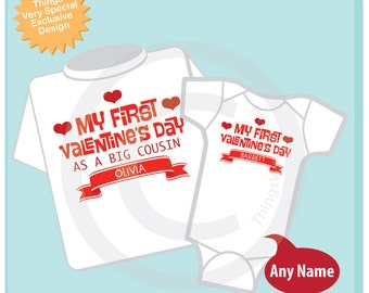 Valentine's Big Cousin Outfit set - Matching Sibling Set of 2 - Kids Matching Outfits - My First Valentine's Day 01192017b