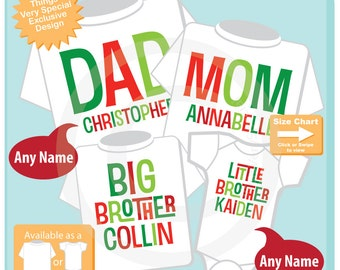 Set of Four family Holiday Shirts, Adult sizes for Mom and Dad, Children's sizes for Big and Little Brother Red Green Christmas (09012015a)