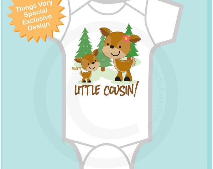 Personalized Little Cousin Woodland Deer Tee Shirt or Onesie, with two deer the oldest is a girl (11112013d)