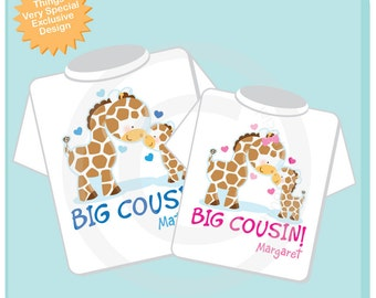 Set of Two Personalized Big Cousin Boy and Big Cousin Girl Giraffes Shirts