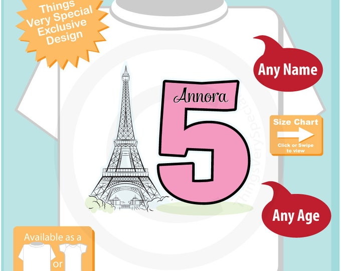 Fifth Paris Birthday Shirt, Pink 5 Birthday Shirt, Personalized Girls Birthday Shirt Pink Age and Name Tee for kids (10052015a)