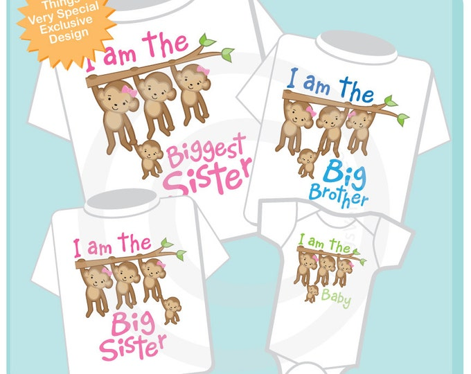 Set of Four Sibling Monkey Shirt and Onesie Set, I am the Biggest Sister Shirt, Big Brother, Big Sister and Baby (08082013a)