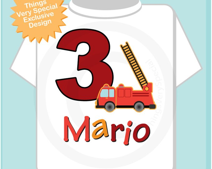 Third Birthday Outfit, Fire Truck Shirt, Personalized 3 year old Fireman, 3rd Birthday Fire truck Shirt with childs name and age 08222012az