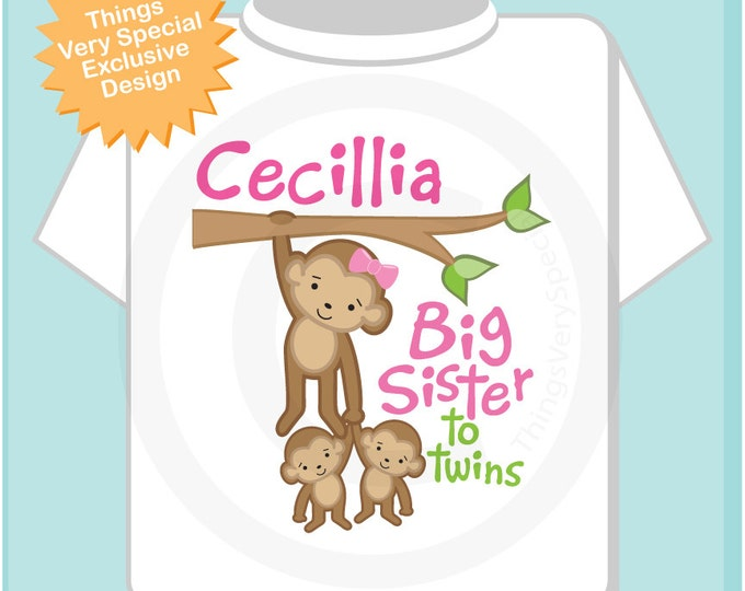 Big Sister to twins Shirt or Onesie, Big Sister Monkey with twin babies, Personalized Big Sister Two twin Monkeys Tee Shirt (09282016b)