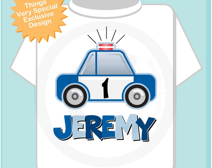 Boys First Birthday Police Shirt, Personalized Police Car Shirt, Policeman Shirt or Onesie with childs name and age 01272014dz