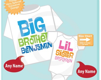 Set of 2, Big Brother and LittleSister Shirt Personalized Infant, Toddler or Youth Tee Shirt or Onesie Pregnancy Announcement (05052015a)