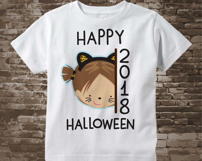 Happy Halloween 2018 Girl with Cat Costume Shirt or Onesie Bodysuit, Cute Cat Costume Happy Halloween 2018 shirt or Onesie 09262017g
