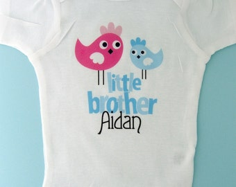 Little Brother Shirt, Little Brother Onesie, Little Brother Bird, Personalized Little Brother Onesie or Tee shirt (12122011a)