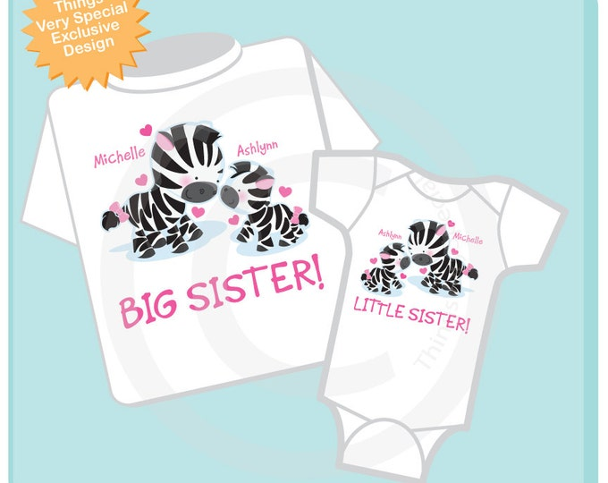 Set of Two Big Sister and Little Sister Zebra Shirt or Onesie, Personalized Tshirt and Onesie with Cute Zebras (08282013a)