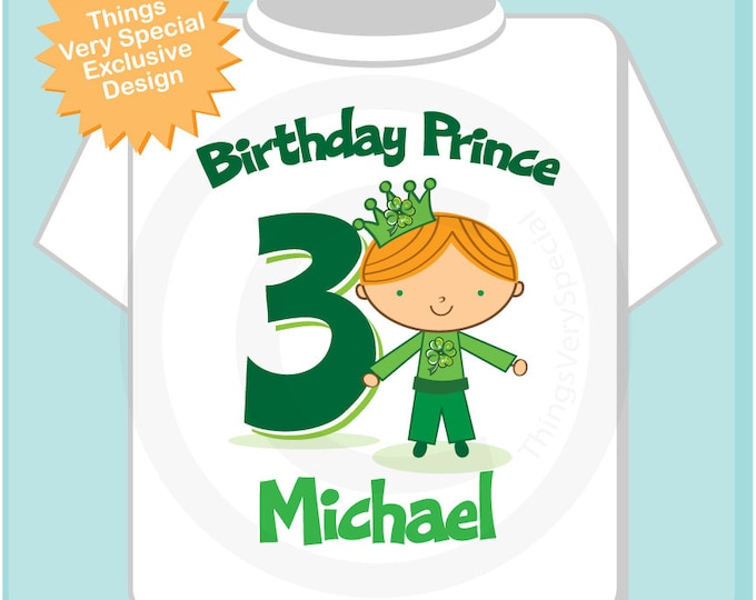 Boy's Personalized Irish Prince Birthday Tee Shirt or Onesie, any age, name  or hair color