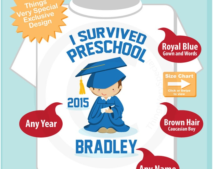 Personalized I Survived Preschool Shirt Preschool Graduate Shirt Child's Back To School Shirt (05152014c)