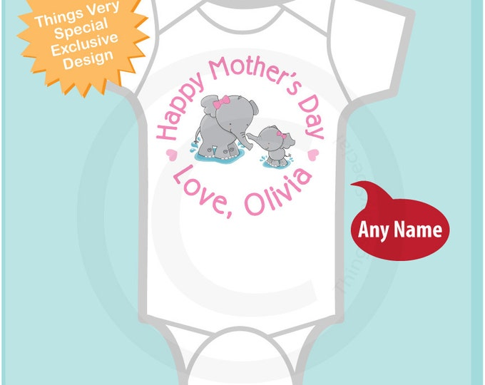 Happy Mother's Day Onesie,  Personalized Mothers Day outfit with Elephants, New Mom Gift - Mothers day gift 04252014f