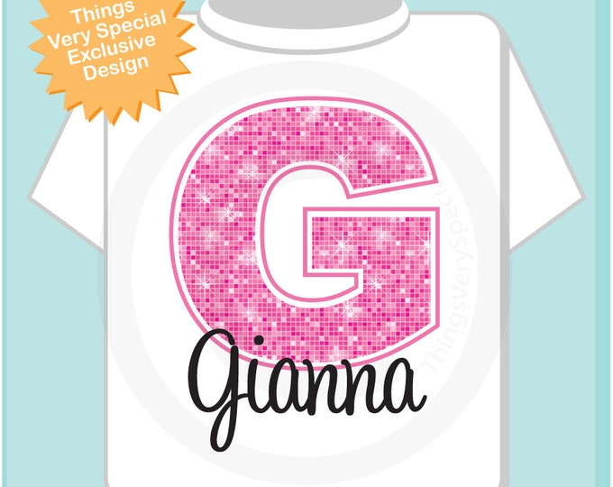 Pink Initial G Name Monogram Shirt Personalized Tee Shirt or Infant Onesie for Girls whos names start with G 01202014c