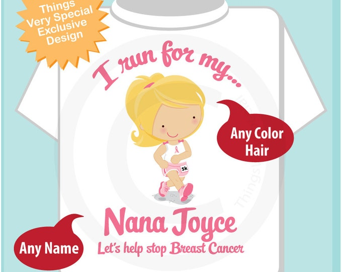 Personalized I Run for my Nana Children's Tee Shirt or Onesie with Breast Cancer Pink Ribbon