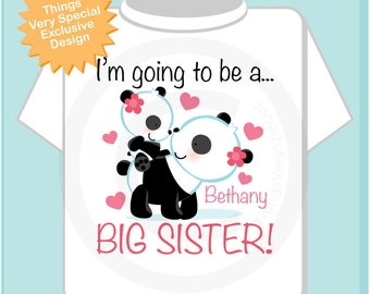 Girl's I'm Going to Be A Big Sister Shirt or Onesie, Personalized Panda Bears (01062012d)