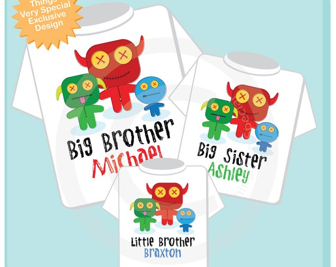 Set of Three Personalized Big Brother, Big Sister and Little Brother Monster Tee Shirts or Onesies (01082014d)