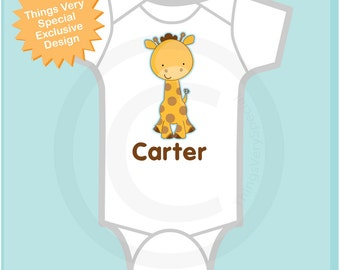 Personalized Giraffe Onesie or Tee Shirt with name, New Baby Gift 01032014d