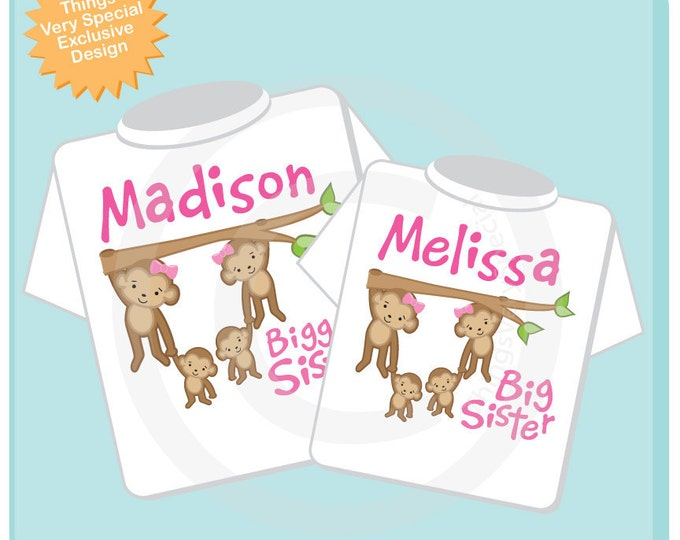 Matching Set of Two - Biggest Sister and Big Sister of Twin Babies Shirts, Monkey shirts twin babies, Matching twin outfit tops 02182015a