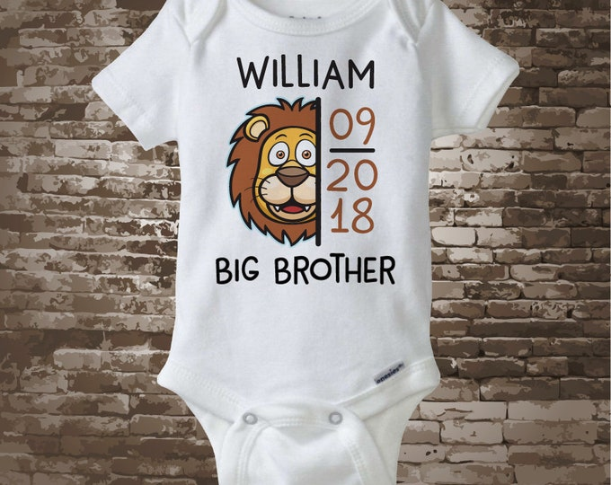 Lion Big Brother Shirt or Onesie Bodysuit with due date of new baby, CuteLion face shirt or Onesie 09252017a