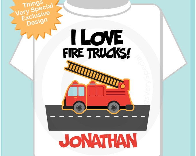 Personalized I Love Fire Trucks Tee Shirt or Onesie  (10282013d)