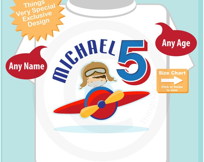 5 year old, Boy's Personalized Airplane Pilot Birthday Shirt or Onesie Personalized with childs name and age 11202017b