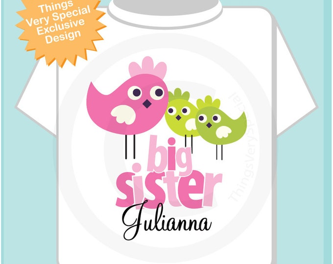 Personalized Big Sister Shirt with Twin Unknown Gender Baby Birdies Tshirt or Onesie (05172013b)