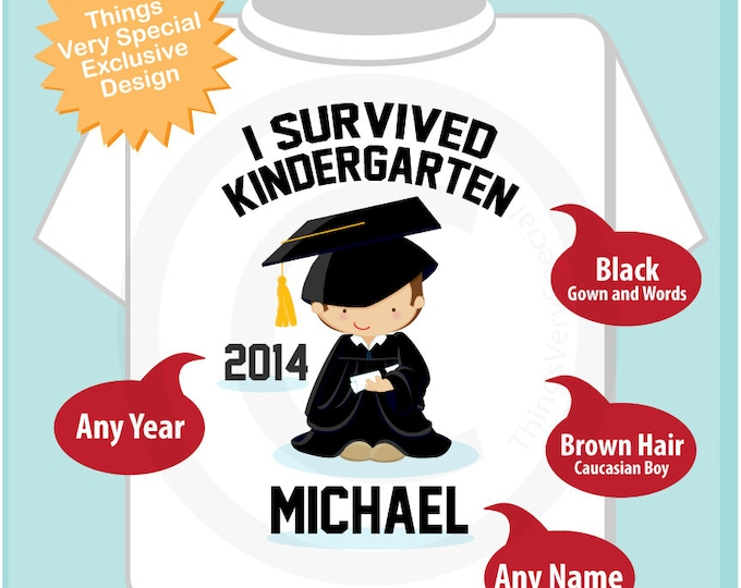 Personalized I Survived Kindergarten Shirt Kindergarten Graduate Shirt Child's Back To School Shirt (05172012b)