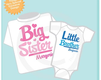 Set of 2 Big Sister and Little Brother Shirt Personalized Infant, Toddler or Youth Tee Shirt or Onesie Pregnancy Announcement (06112012b)