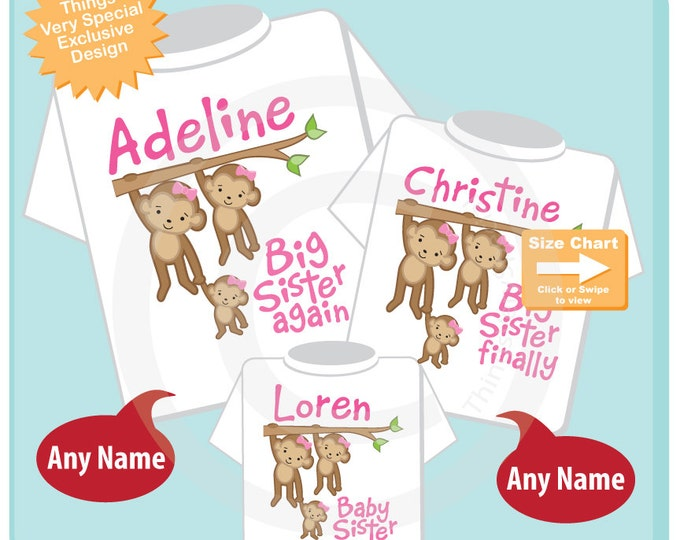 Matching Sibling Shirt Set of Three, Big Sister Again, Big Sister FInally Baby Sister, Personalized Outfit Shirt or Onesie (07072015h)