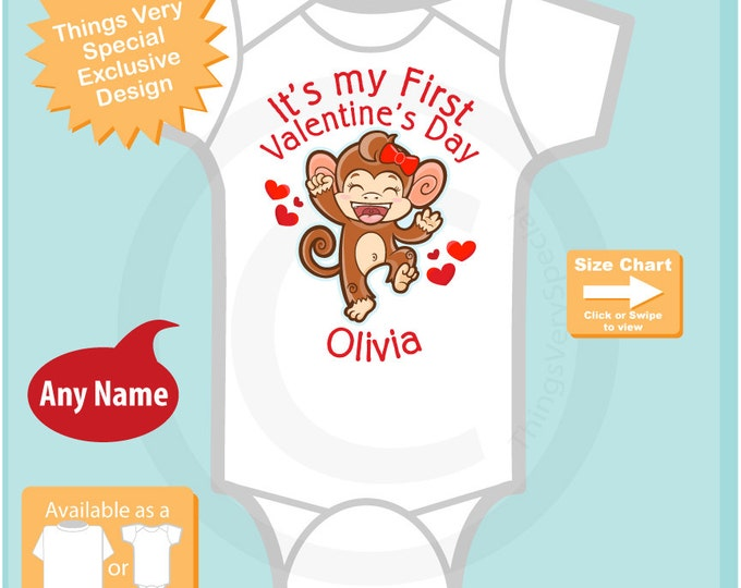 Girls First Valentine's Day Personalized Bodysuit - 1st Valentine Monkey Shirt - Personalized Valentines Shirt - Heart tshirt Kids 01252016c