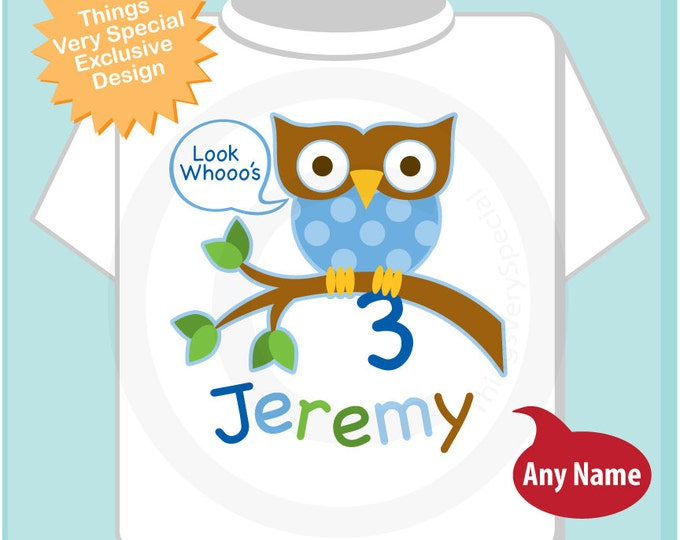 3rd Birthday Owl Shirt, Personalized Boys Third Birthday Owl Shirt or Onesie with Child's Name and age (03062014e)