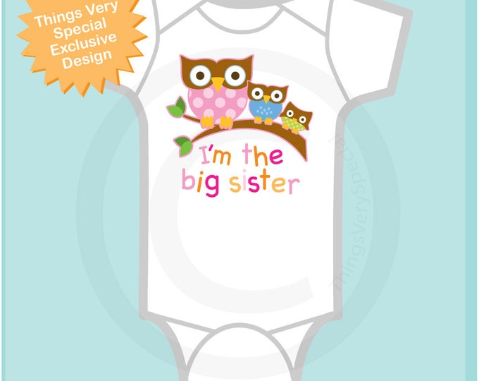 Girl's I'm The Big Sister Shirt or Onesie with Three Owls on Branch, Pregnancy Announcement 06162013a1