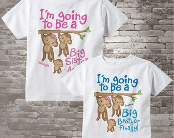 Big Sister Again and Big Brother Finally Shirt set of 2, Sibling Shirt, Personalized Tshirt with Cute Monkeys 12132013a