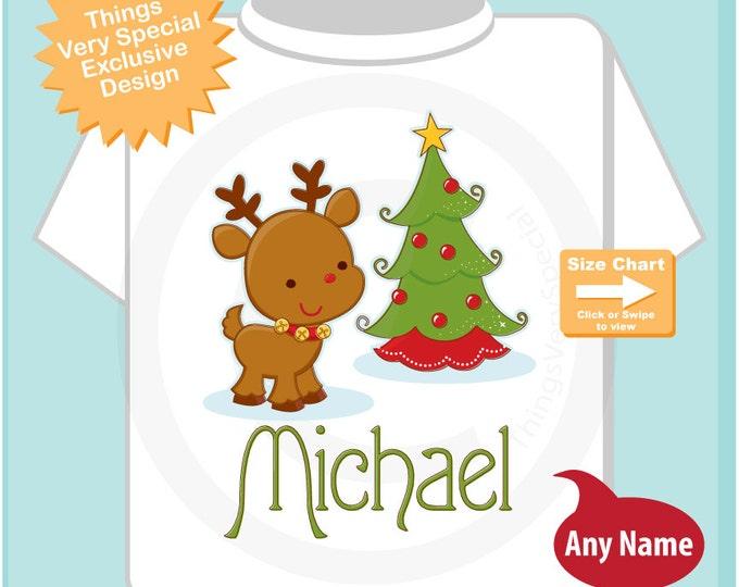 Kids Gift - Christmas Shirt - Christmas Theme t-shirt or Onesie, Christmas Shirt or Bodysuit, Personalized Christmas Reindeer (12052014a)