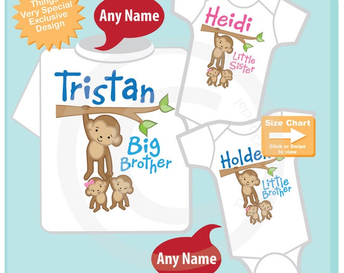 Sibling Monkey Shirt Set, Set of Three, Big Brother Shirt, Big Brother, with Twin Girl and Boy Personalized Shirt or Onesie (07012015a)