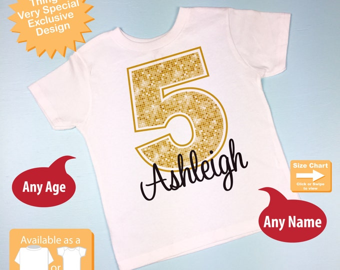 Fifth Birthday Shirt, Golden 5 Birthday Shirt, Personalized Girls Birthday Gold Color Age and Name Tee or Infant Onesie (05262014b)