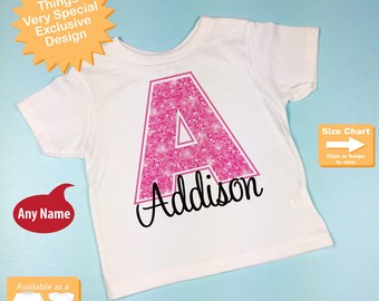Monogram Shirt - Pink Initial A t-shirt - Personalized Tee Shirt or Infant Onesie for Girls whose names start with A (02072014h)