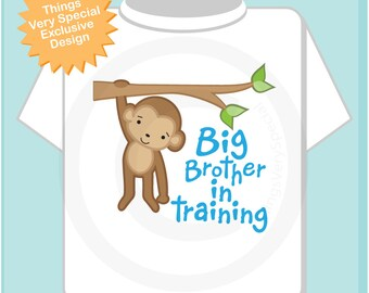 Big Brother Shirt - Big Brother In Training Shirt - Big Brother Monkey Shirt - Big Brother Announcement Shirt - Big Brother Gift (02122014f)