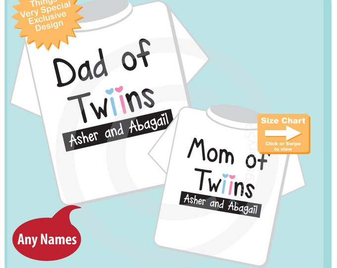 Matching Dad of twins and Mom of twins Personalized tee shirts with the twin girl boy children's names 11102015a