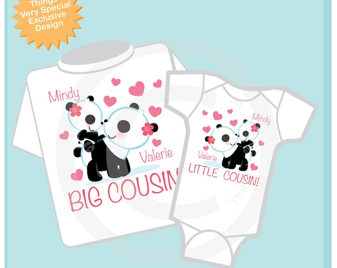 Set of Two Personalized Big Cousin and Little Cousin Panda Bears Shirt, Big Cousin and Little Cousin Onesie (08162012a)