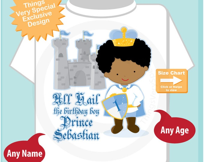 Birthday Shirt African American Prince With Black Hair Personalized Boy