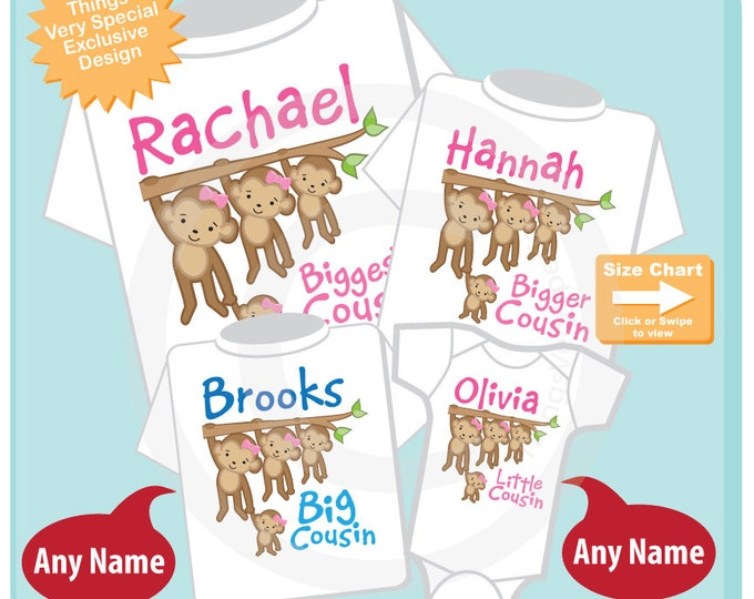 Set of Four Cousin Monkey Shirts and Onesies, Biggest Cousin Girl, Bigger Cousin Girl, Big Cousin Boy and Little Cousin Girl 06052015e
